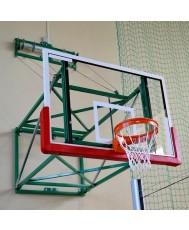 Баскетболна конструкция за стенен монтаж - за зала, с електрически тубуларен двигател